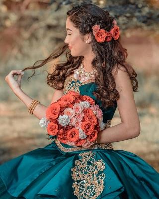 Elegante vestido de fiesta de novia apliques de perlas vestido de quinceañera_3