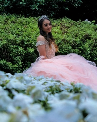 Layered Tulle Crystal Beading Off-the-shoulder Pink Quinceanera Dresses_6