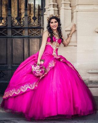 Ball Gown Sweetheart Sleeveless Gold Appliques Hot Pink Quinceanera Dress_5