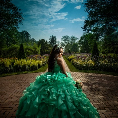Lace Appliques Sleeveless Green Ruffled Ball Gown Quinceanera Dresses_2