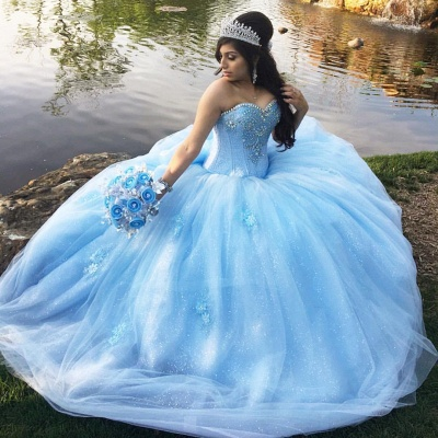 Vintage Sweetheart Strapless Beading Sequined Tulle Quinceanera Dresses_1