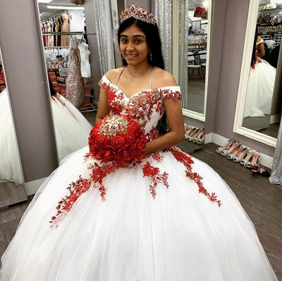 Off the Shoulder Sweetheart Red Appliques White Quinceanera Dress_2