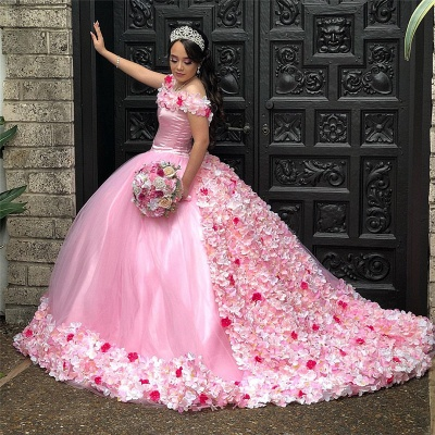 Gorgeous 3-D Floral Off-the-shoulder Brush Train Quinceanera Dresses_2