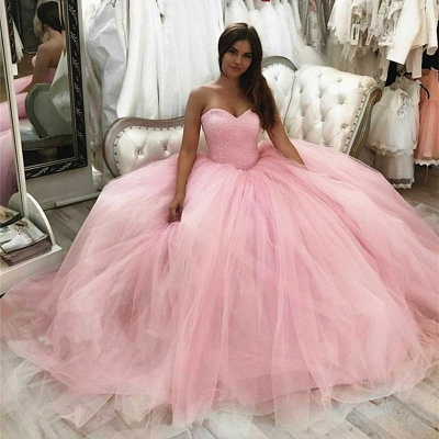 Tulle Strapless Sweetheart Long Quinceanera Dress_1