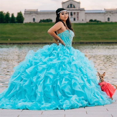 Strapless Beading Ruffles Sweep Train Blue Quinceanera Dresses