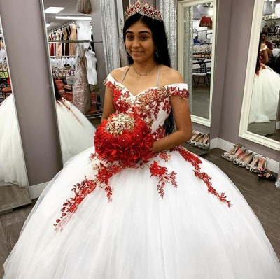 Off the Shoulder Sweetheart Red Appliques White Quinceanera Dress_3