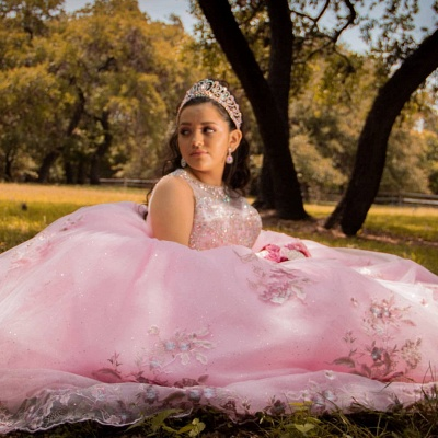 Sleeveless Ball Gown Beading Floral Appliques Pink Quinceanera Dresses_2