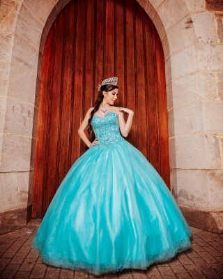 Tulle Sleeveless Sweetheart Beading Long Quinceanera Dress_3
