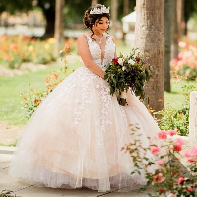 Elegant Tulle Appliques V-neck Sleeveless Quinceanera Dresses_1