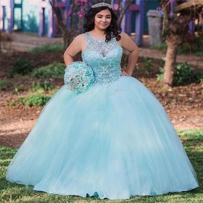 Ball Gown Jewel Sleeveless Beading Long Quinceanera Dress_2