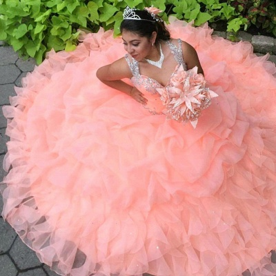 Chic Pink Ball Gown V-neck Spaghetti Crystal Beading Quince Dresses_3