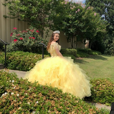 Crystal Beading Appliqued Off-the-shoulder Ruffles Tulle Quinceanera Dresses_2