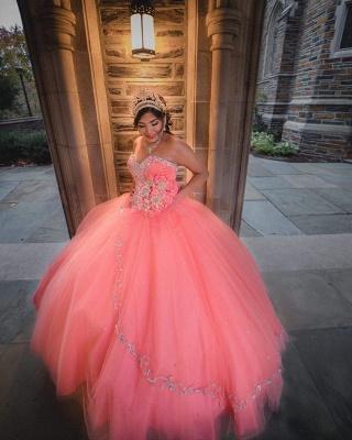 Vestido de fiesta de tul de novia sin mangas con abalorios vestido de quinceañera rosa_5