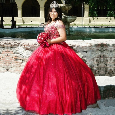 Spaghetti Straps V-neck Floor Length Red Tulle Quinceanera Dresses