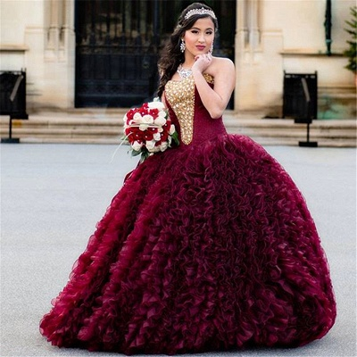 Exquisite Strapless Ruffle Gold Beadings Burgundy Quinceanera Dress_1