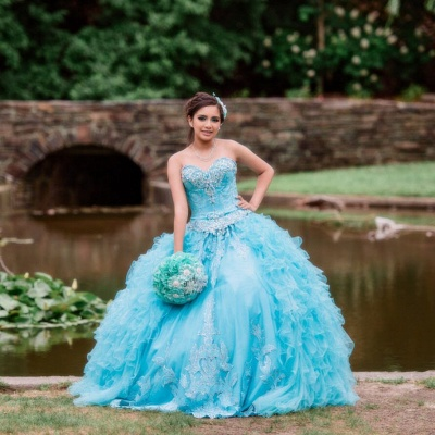 Blue Tulle Sweetheart Appliques Beading Quinceanera Dress_5