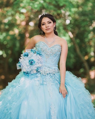 Blue Tulle Sweetheart Appliques Beading Quinceanera Dress_4