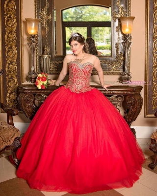 Sweetheart Sleeveless Beading Red Tulle Quinceanera Dress_5