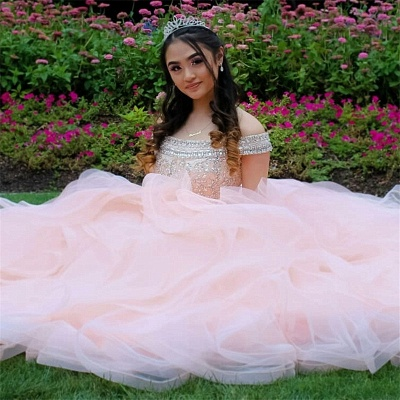 Layered Tulle Crystal Beading Off-the-shoulder Pink Quinceanera Dresses_3
