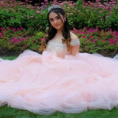 Vestidos de quinceañera rosa con abalorios de cristal de tul en capas_3