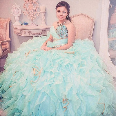 Stylish Sweetheart Beading Sleeveless Ruffles Quinceanera Dress_2