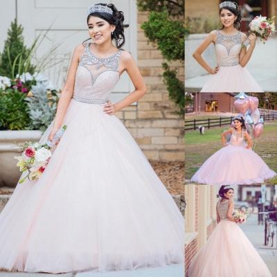 Princess Jewel Sleeveless Beadings Sequins Long Quinceanera Dress_1