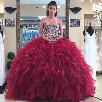 Sweetheart Strapless Crystal Beading Ruffled Burgundy Quinceanera Dresses_1