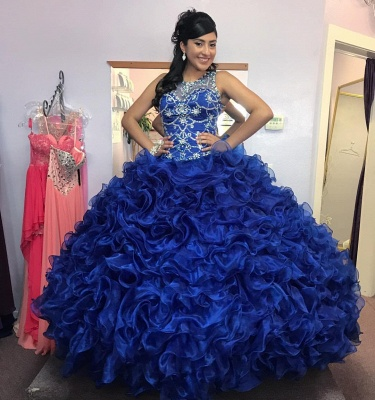 Gorgeous Beading Ruffled Taffeta Sleeveless Blue Quince Dresses_3