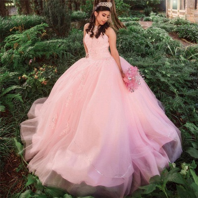 Princess High-Neck Sleeveless Appliques Beadings Pink Quinceanera Dress_1