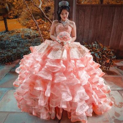 Elegante capa sin mangas con volantes perlas vestido de quinceañera rosa_1