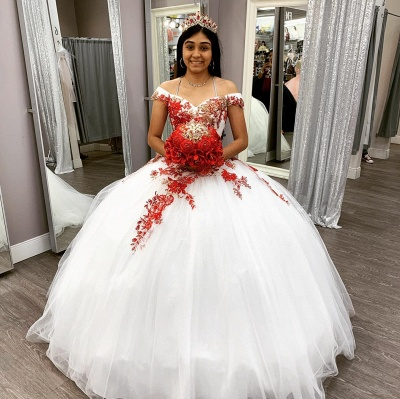 Off the Shoulder Sweetheart Red Appliques White Quinceanera Dress_1