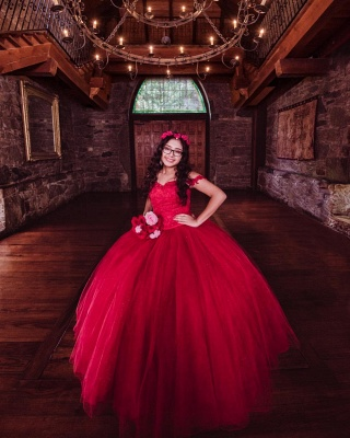 Off the Shoulder Appliques Pearls Burgundy Tulle Quinceanera Dress_4