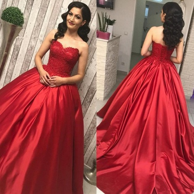Lace Top Red Ball Gown Court Train Sweetheart Strapless Quince Dresses