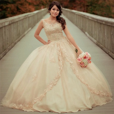 Straps Sleeveless Lace Appliques Beading Quinceanera Dress_1