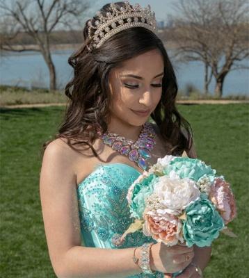 Elegantes cariño lentejuelas vestido de quinceañera con listones_2