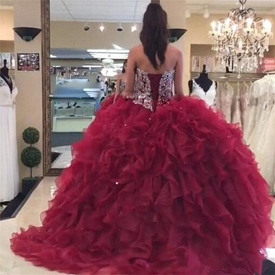 Sweetheart Strapless Crystal Beading Ruffled Burgundy Quinceanera Dresses_2