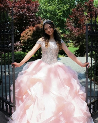 Vestidos de quinceañera rosa con abalorios de cristal de tul en capas_7