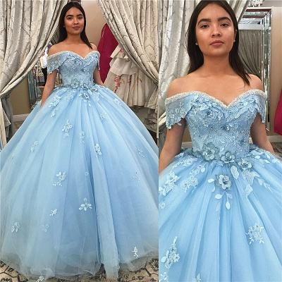 Off-the-shoulder Flower Appliques Tulle Ball Gown Quince Dresses
