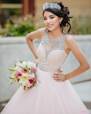 Princess Jewel Sleeveless Beadings Sequins Long Quinceanera Dress_8