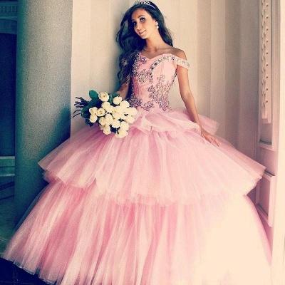Vestidos de quinceañera rosa con apliques de tul fuera del hombro con apliques_1