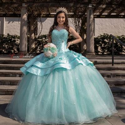 Elegantes cariño lentejuelas vestido de quinceañera con listones_1
