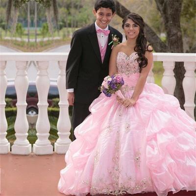 Exquisite Sweetheart Ruffles Beadings Pink Quinceanera Dress_1