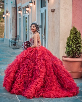 Vestido de fiesta de quinceañera con adornos de tul y falda de bola fantástica_6