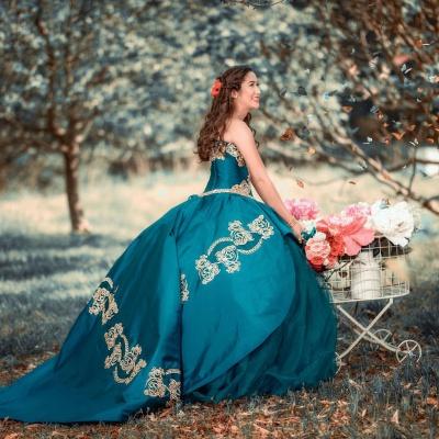 Elegante vestido de fiesta de novia apliques de perlas vestido de quinceañera_2