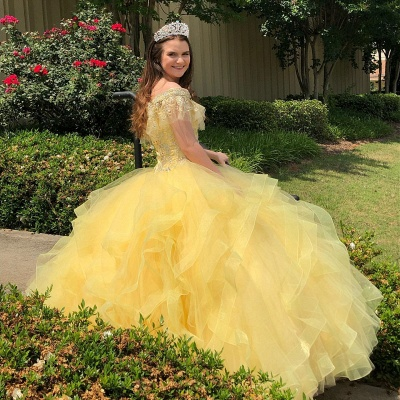 Crystal Beading Appliqued Off-the-shoulder Ruffles Tulle Quinceanera Dresses_5