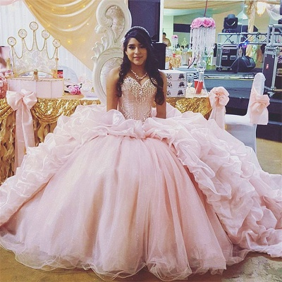 Sweetheart Beading Taffeta Ball Gown Pink Quinceanera Dresses_1