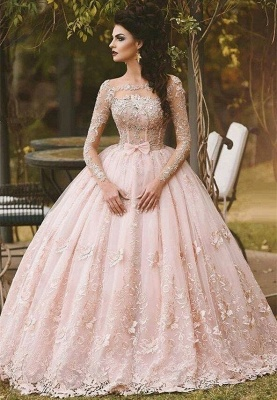 Elegant Lace Appliques Long Sleeves Draped Quinceanera Dresses_2
