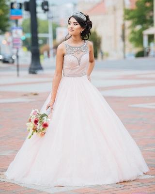 Princess Jewel Sleeveless Beadings Sequins Long Quinceanera Dress_9