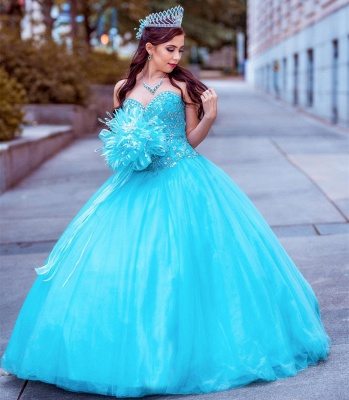 Tulle Sleeveless Sweetheart Beading Long Quinceanera Dress_2