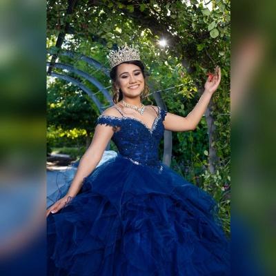 Correas espaguetis Apliques de encaje Crystal Tul Vestidos de quinceañera con volantes_5